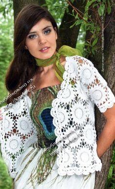 Delicadezas en crochet Gabriela: Saco de manga corta y chal