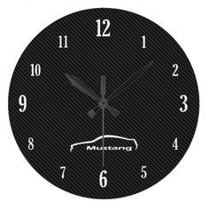 White Mustang Brushstroke Logo Large Clock