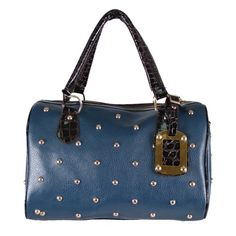 Your Gallery Rivet PU Leather Double Handle Satchel Handbag Purse Hobo Tote Bag Dark Blue * See this great product.