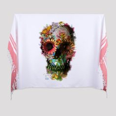 """Skull 2 Printed Turkish Bath/Beach Towel    95cm x185 cm (37""""x72"""")  Made of 100% Turkish cotton    It is an absorbent beach and bath towel, light and small when folded to easily fit into your bag.  It can be worn as a scarf or as a sarong. It can also be used as a table cloth or bedspread at your home.    The traditional bath towel is printed with bold and vivid designs.  İkiiki Design - Illustrated by Ali Güleç 