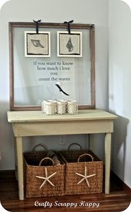 .baskets with starfish for under side tables