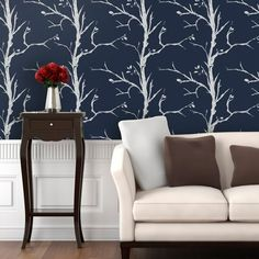 Trees Wallpaper - Twilight - Wall Decals at Hayneedle