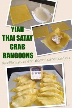 YIAH Thai Satay Crab Rangoons 1 block philli cheese 2 cans drained crab meat ( 340gms ) 2 shallots sliced thinly ( green parts and all )  1 tbsp soy sauce a couple of shakes of sesame oil 1 tbsp YIAH Thai Satay Spice Blend packet of wonton wrappers Spray or drizzle with oil or melted butter and bake in a hot oven ( 200 deg c ) for 12-15 minutes, or until golden brown. These can deep or shallow fried, if prefer... Serve with a sauce of your choice like, hoisin, sweet chilli, spicy plum etc…