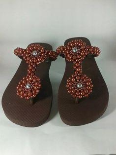 sandalia chinelo decorado personalizado c/ pérola