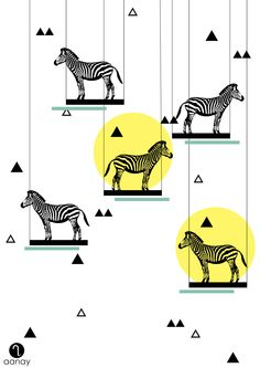 Zebra  To place an order email us at malvika@aanay.in  #aanay #illustration #zebra #triangles #circles #geometry #swings #wallart #artprints