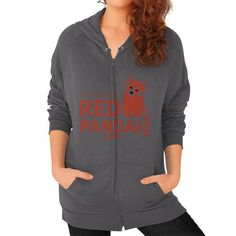 Red Panda Day Zip Hoodie (on woman)