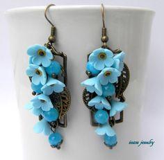 Forget me nots  Light blue earrings  Flower by insoujewelry