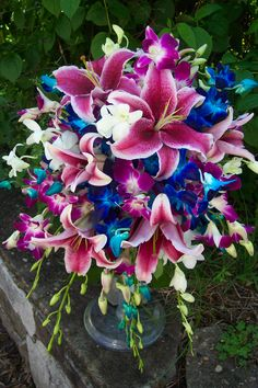 Stargazer lily and blue dendrobium orchid cascading bouquet. My favorite flowers Blue Wedding Flowers, Wedding Colors, Wedding Bouquets, Beautiful Flowers, Purple Wedding, Indigo Wedding, Wedding Beach, Blue Flowers, Wedding Ceremony