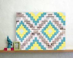 AZTEC CANVAS BY WALLSTUDIO Like the pattern & colors, but maybe on real wood instead of canvas :)