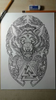 The wolf the eternally dangerous animal . tamed by man and to the U - Zeichnungen traurig - tattoos Wolf Tattoos, Gamer Tattoos, Body Art Tattoos, Tattoo Drawings, Tattoos For Guys, Sleeve Tattoos, Warrior Tattoos, 3d Tattoos, Wolf Tattoo Design