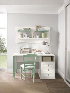 Camerette Arcadia |  Scrivania per bambini in Giada e Bucaneve | Colombini Home Office, Office Desk, Alondra, Built Ins, Home And Living, Kids Bedroom, Bookshelves, Arcade, Corner Desk