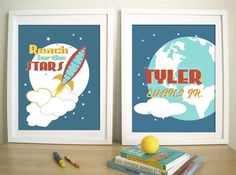 $30 Rocket Artwork Print For Children-Rocket and Stars - would be SO cute for a space-themed nursery!