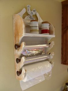 Vintage Inspired White Distressed White Wallnut French Paper Rack Dispenser White or distressed or natural ( with or without cutters) Kitchen Organization, Kitchen Storage, Kitchen Racks, Bathroom Storage, Organization Ideas, Wood Projects, Woodworking Projects, Woodworking Garage, Woodworking Books