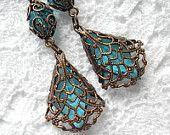 Copper Lace - Filigree-Wrapped Vintage Aquamarine Glass Jewel Earrings