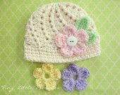 Baby Crochet Hat with Interchangeable Flowers and Leaves, COLOR of your CHOICE, Baby/Toddler Girl - Newborn, Up to 12 Months