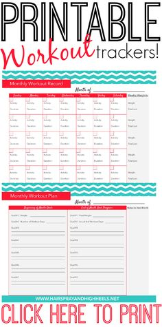free printable workout weight loss tracker calendar fitness