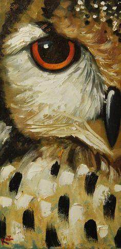 Owl painting 44 12x24 inch original animal bird portrait by RozArt, $155.00