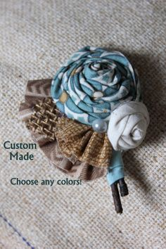 Colorful Country Burlap Flower Wedding Boutonniere ANY COLORS! by dustyLuck