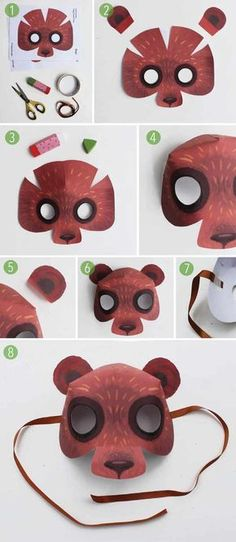 How to make a bear mask template and homemade bear cosyume ideas! Easy, fun, dress up Animal bear costume ideas! Hunt Costume, Costume Ideas, Animal Masks For Kids, Mask For Kids, Diy For Kids, Crafts For Kids, Diy And Crafts, Printable Animal Masks, Teacup Pigs