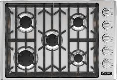 """Professional 5 Series Gas Sealed Burner Style Cooktop with 5 Burners, ScratchSafe™ in Stainless Steel The 30"""" Professional gas cooktop offers a hassle-free kitchen upgrade with superior cooking power."""