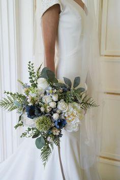 New Wedding Flowers Bouquet Peonies Dusty Miller Ideas Boquette Wedding, Wedding Ceremony Flowers, Rustic Wedding Flowers, Bridal Flowers, Floral Wedding, Dress Wedding, Wedding Blue, Wedding Ideas, Blue Flowers For Wedding
