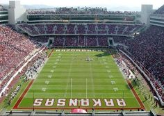 Razorback Stadium in Fayetteville Arkansas is home for The University of Arkansas Razorbacks
