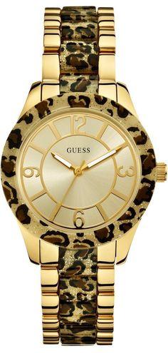 #Guess #Watch , GUESS Women's Leopard-Print Sparkling Watch