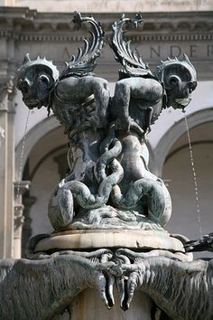 Fountain at the Santissima Annunziata square, Florence , province of Florence , Tuscany