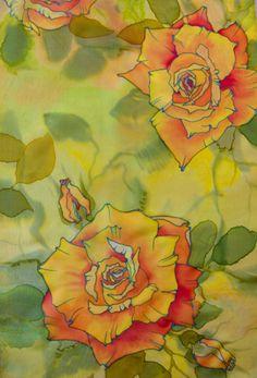 painted silk scarf by Tereze Zake Fabric Painting, Fabric Art, Batik Art, Silk Art, Butterfly Art, Rice Paper, Hand Painted, Painted Silk, Line Drawing