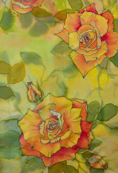 Nr 7, painted silk scarf by Tereze Zake