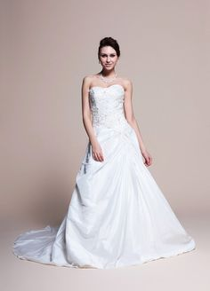 Taffeta A-Line Wedding Dress With Beaded Bodice  Read More:     http://weddingsred.com/index.php?r=taffeta-a-line-wedding-dress-with-beaded-bodice.html