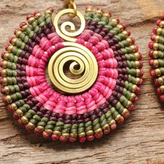 Tribal circle earrings with brass highlights in by cafeandshiraz