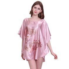 Women Sleep shirt New Pattern Fashion Lady Nightgowns Faux Silk Sleep  Lounge Female Dressing Gowns. Satin SleepwearNightwearSilk ... 76f9cdd29