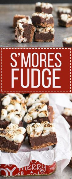This S'mores Fudge only takes 15 minutes and six ingredients to prep - no baking required! This quick and easy fudge recipe is a no-mess way to eat s'mores. Fudge Recipes, Candy Recipes, Chocolate Recipes, Baking Recipes, Dessert Recipes, Dinner Recipes, Chocolate Fudge, Smores Fudge Recipe, Fudge Bar