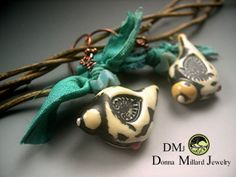 SRA LAMPWORK EARRINGS Donna Millard dangle ivory by DonnaMillard, $49.99