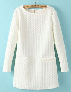 White Long Sleeve Cable Pattern Pockets Sweatshirt - Sheinside.com  Perfect for leggings.