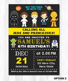 Star Wars Invitation Star Wars Invite Star Wars by KidzParty
