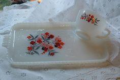 2 TEA set - Vintage Anchor Hocking Fire King  PRIMROSE Milk Glass White Snack Set - Set of 2 trays 2 cups MINT Vintage
