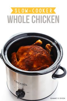 "Slow Cooker ""Rotisserie"" Chicken -- easy to make with just 5 minutes of prep time, and it's seasoned just like it's fresh from the rotisserie! 