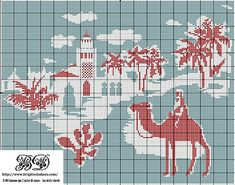 oasis desert scene free cross stitch pattern