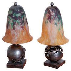 Pair of Edgar Brandt & Daum Art Deco Table Lamps