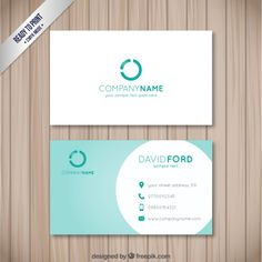 Visit card with a turquoise circle Free Vector