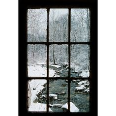 Looking Out The Barn Window ❤ liked on Polyvore featuring windows, backgrounds, winter, pictures, doors and windows, borders and picture frame