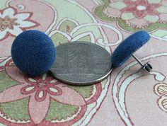 Denim fabric button earrings