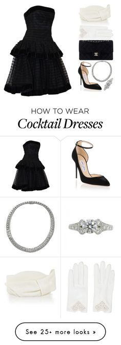"""""""Cocktail Party"""" by elle-dancer on Polyvore featuring Christian Dior, Jimmy Choo, Cartier, Cappellino Millinery, Hermès, Chanel, DateNight, polyvoreeditorial and elledancer"""