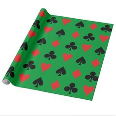 Poker Card Suits - $23.95 - Poker Card Suits wrapping paper - by #RGebbiePhoto @ zazzle - #poker #suits #cards - Heart, Club, Spade and Diamond in Red and Black. Poker players or card players will enjoy this repeating pattern. Great for Las Vegas theme gambling nights, or just for fun!