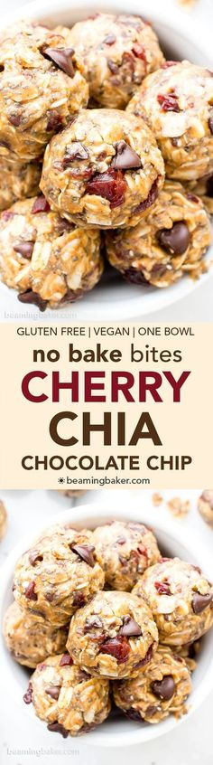 No Bake Cherry Chocolate Chip Chia Energy Bites (V, GF): a one bowl recipe for sweetly tart cherry chocolate chip energy bites packed with whole ingredient, energy-boosting yum! #Vegan #GlutenFree #OneBowl #ProteinRich | BeamingBaker.com