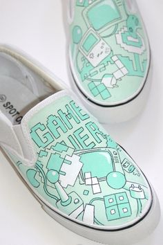 [Mario Retro Gaming Handpainted Custom Shoes via Etsy.]    Loving these retro kicks! Reminds me of my childhood with the 8 bit games and the gameboy of course...... I really like the color palette. Obi