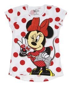 Another great find on #zulily! White Minnie Mouse Tee - Girls by Mickey Mouse & Minnie Mouse #zulilyfinds
