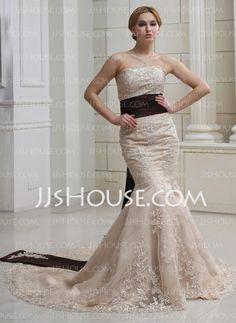 Wedding Dresses - $186.19 - Mermaid Strapless Court Train Satin Wedding Dress With Lace Sashes Beadwork Sequins (002012894) http://jjshouse.com/Mermaid-Strapless-Court-Train-Satin-Wedding-Dress-With-Lace-Sashes-Beadwork-Sequins-002012894-g12894